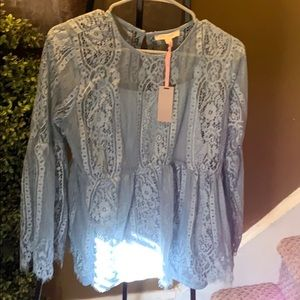Powder Blue Lace Top SzM